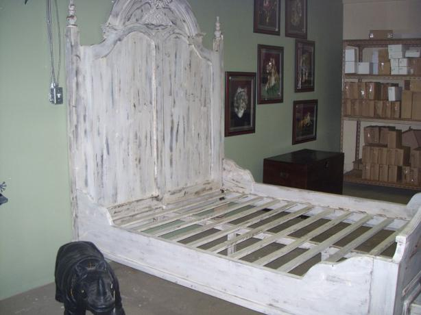 queen bed frame white wash 7ft tall headboard outside victoria victoria. Black Bedroom Furniture Sets. Home Design Ideas