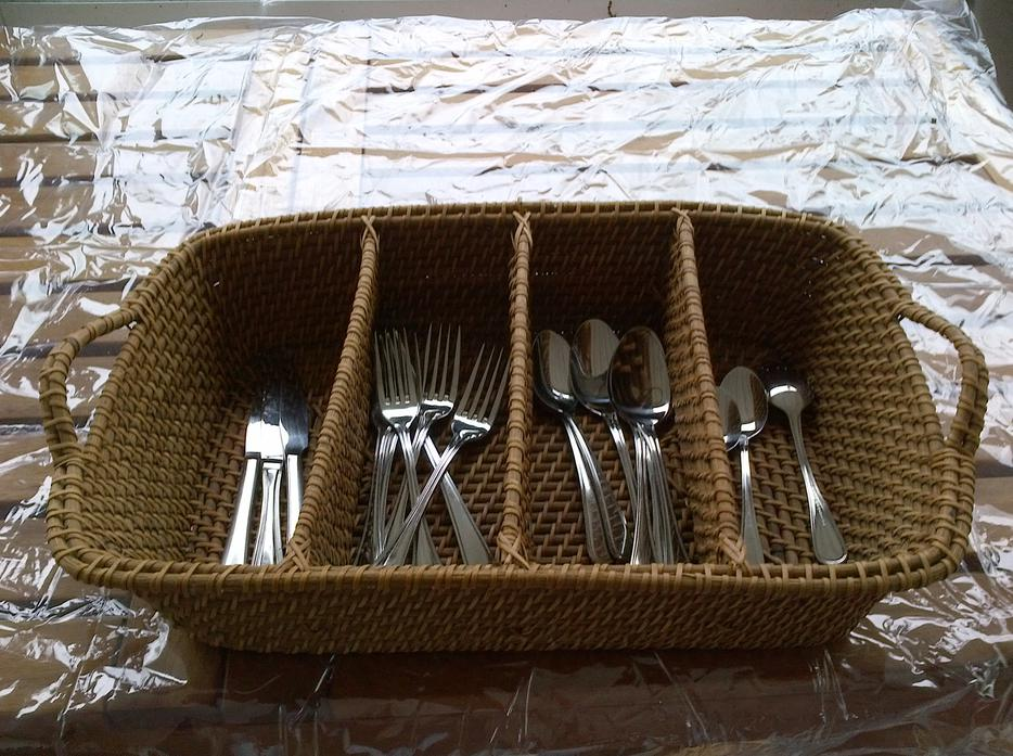 House and home cutlery divided wicker basket saanich victoria - Divided wicker basket ...