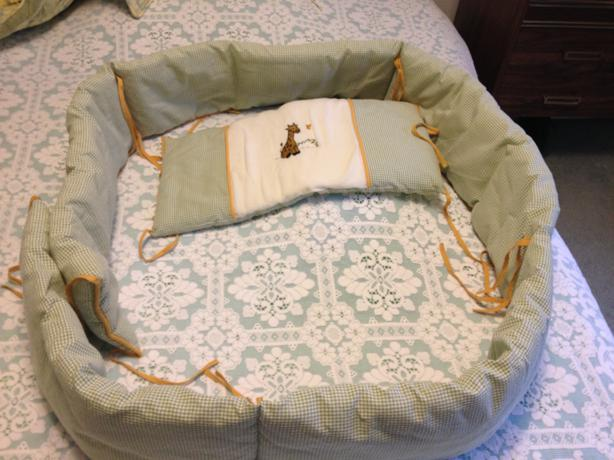 Baby crib protecter with a matching pillow set