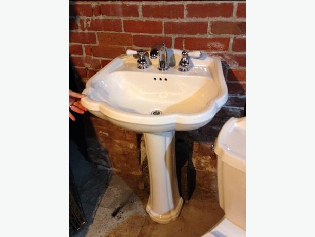 american standard pedestal sink and matching toilet