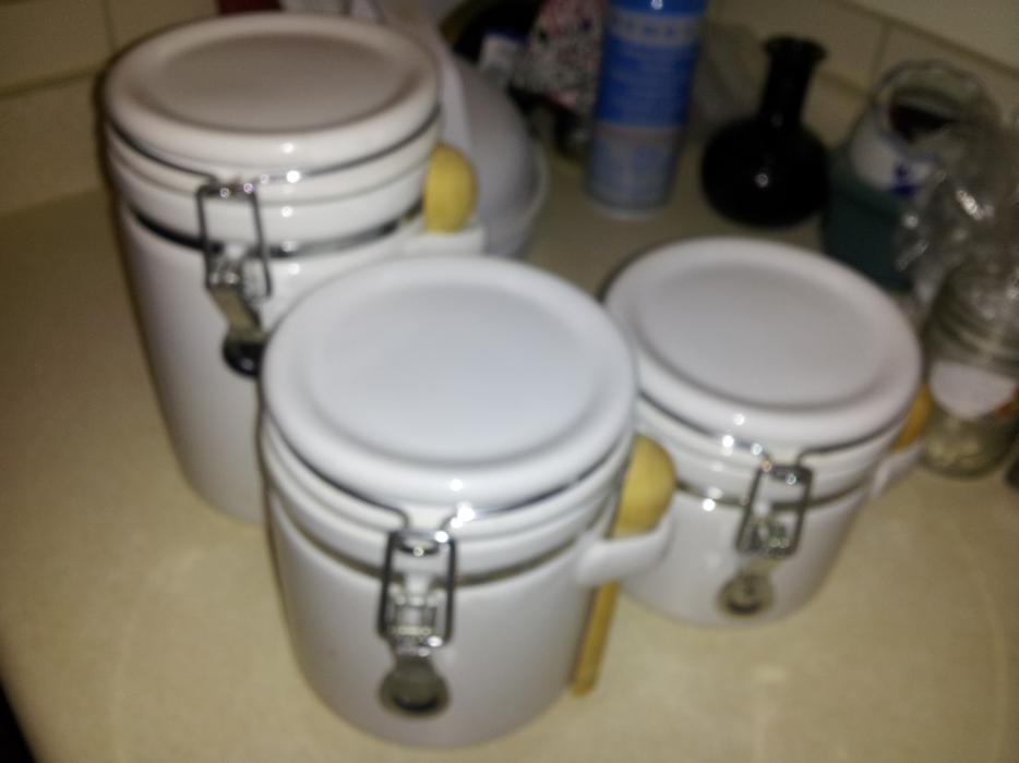 Deer Canister Set >> Set of 3 kitchen canisters - white Victoria City, Victoria