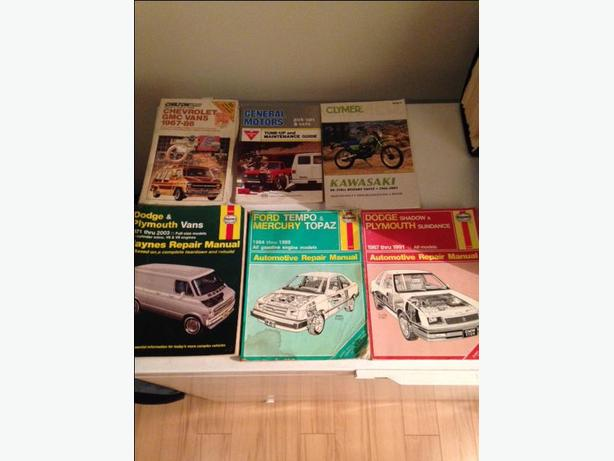 2 Car manuals(Haynes).1 motorcycle manual