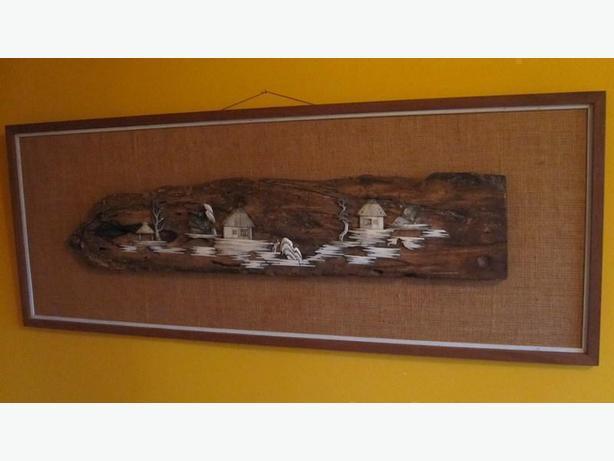 Vintage mid century teak framed bone on driftwood panel with burlap matting.