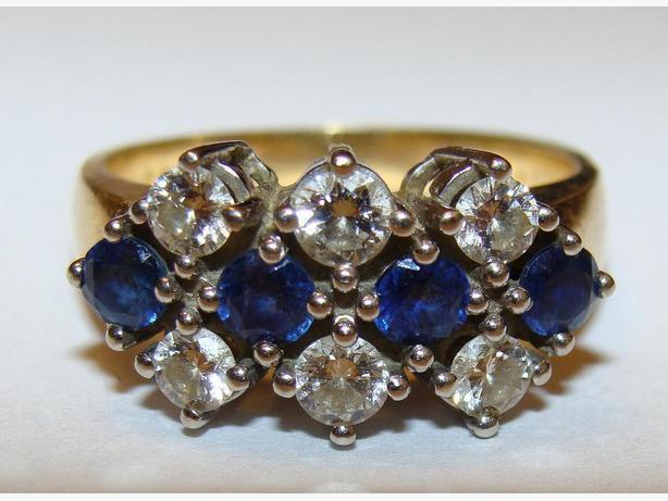 "Sapphire & Diamond ""Christmas  Dinner"" Ring"