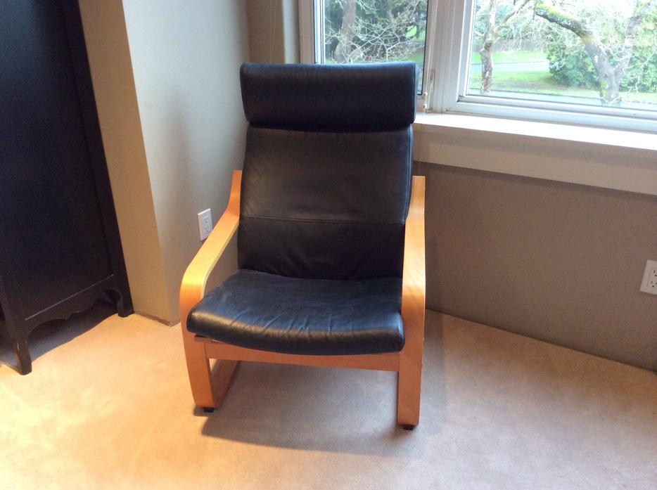 Ikea poang chairs black leather oak bay victoria - Ikea poang chair leather ...