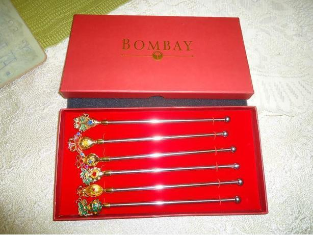 Bombay Company- 6 Stainless Steel Crystal Top Swizzle Sticks NEW