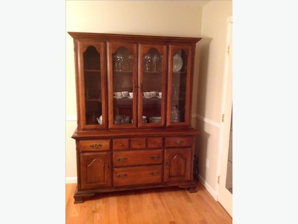 reduced solid wood dining room table chairs hutch