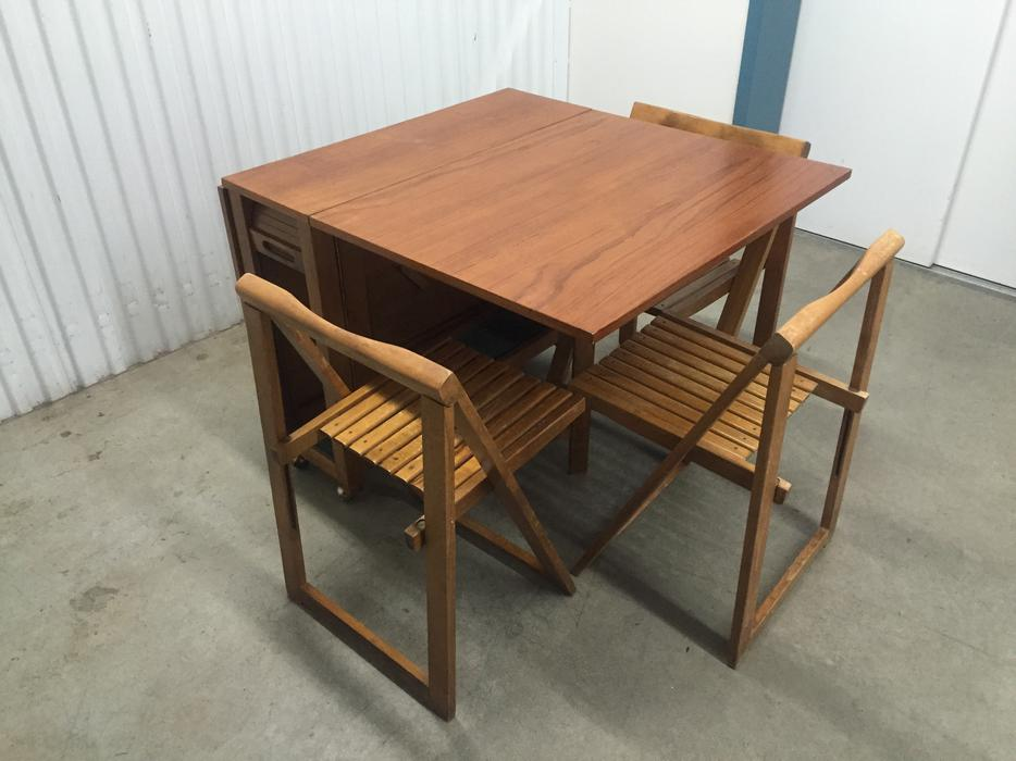 Solid Teak Mid Century Folding Table With Stow Away Chairs