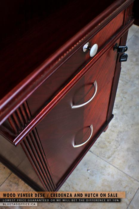 Wood veneer desk credenza and hutch on sale central for Q furniture abbotsford
