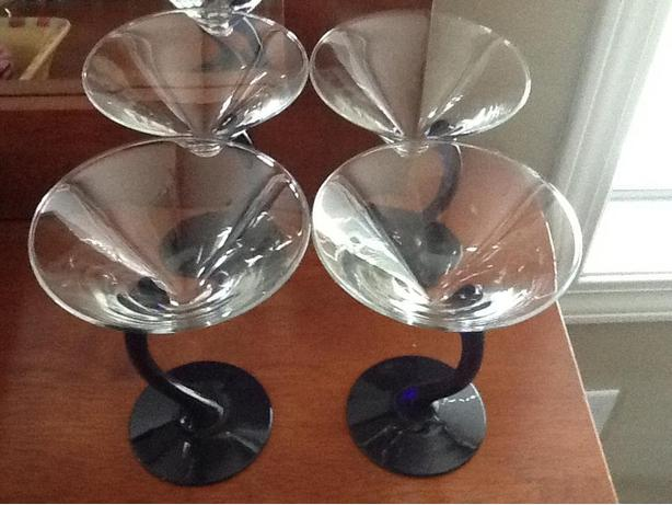 New Custom Blue/Clear Glass Martini Glasses