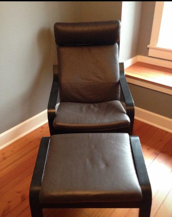 leather ikea poang chair and footstool north saanich sidney