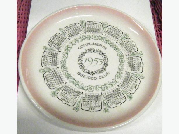 Rare Medalta Potteries 1953 Calender Plate Sirocco Club