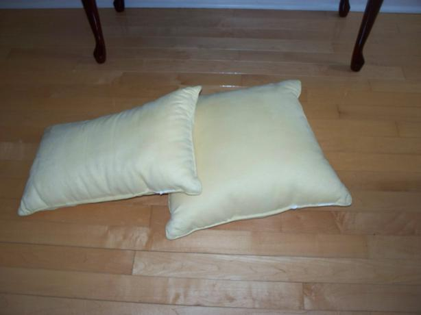 Yellow Micro-Suede Throw Pillows.