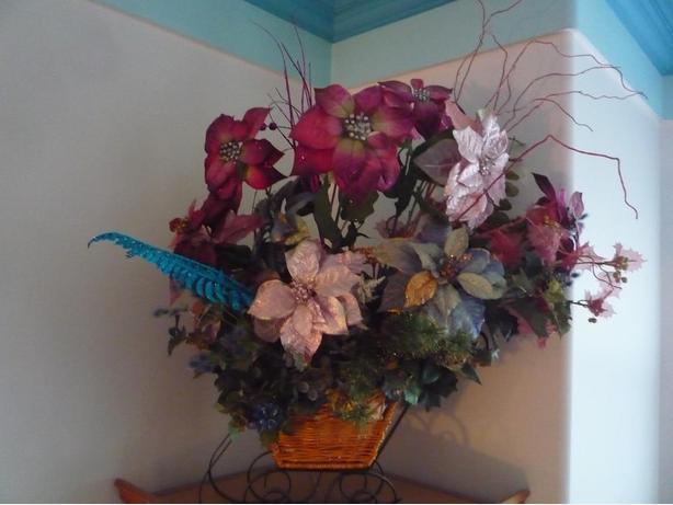 Wicker Sleigh /Silk Flower Arrangement