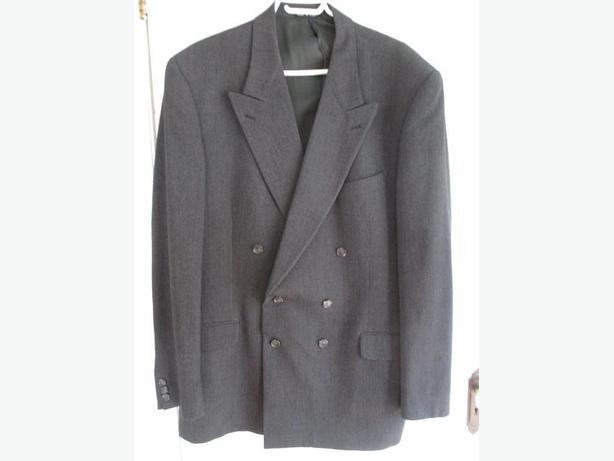 Men's Double Breasted Dark Blue-Grey Suit Jacket/Blazer