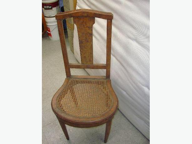 Antique Collectable Cane Back Solid Wood Chair - $10