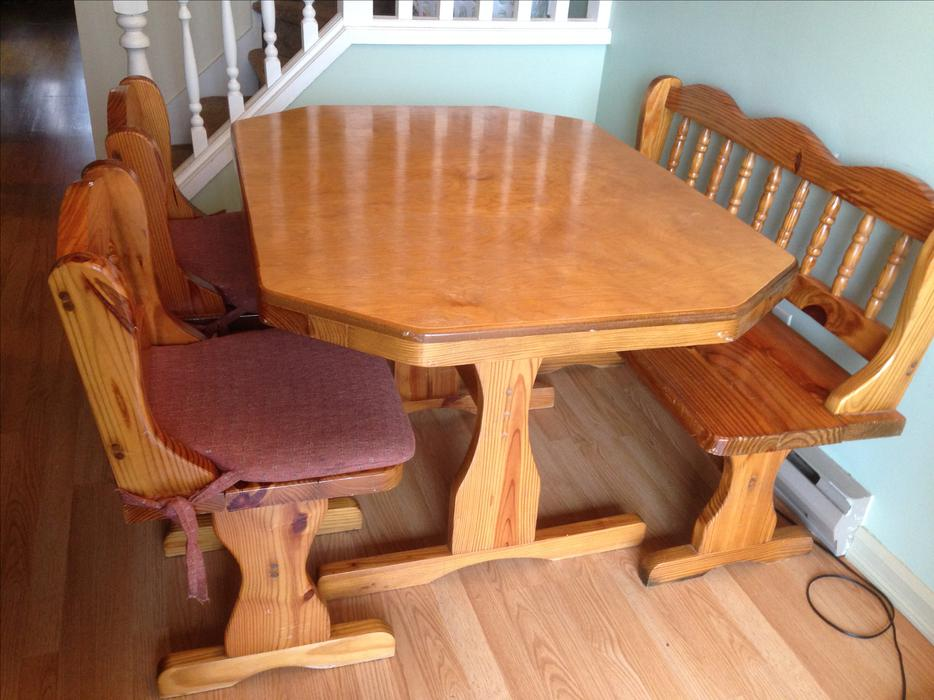 Reduced solid wood locally made dining room table w for Dining room tables kelowna
