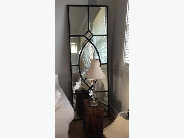Large bevelled glass mirror floor standing or hanging for Standing glass mirror