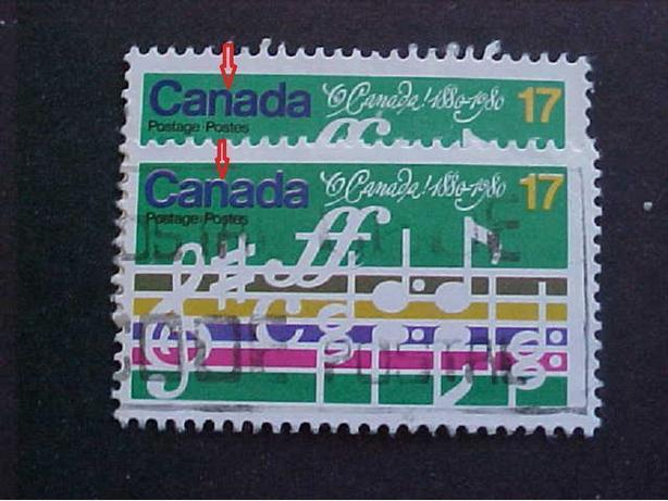 SCOTT 857 WHITE OUTLINED CANADA