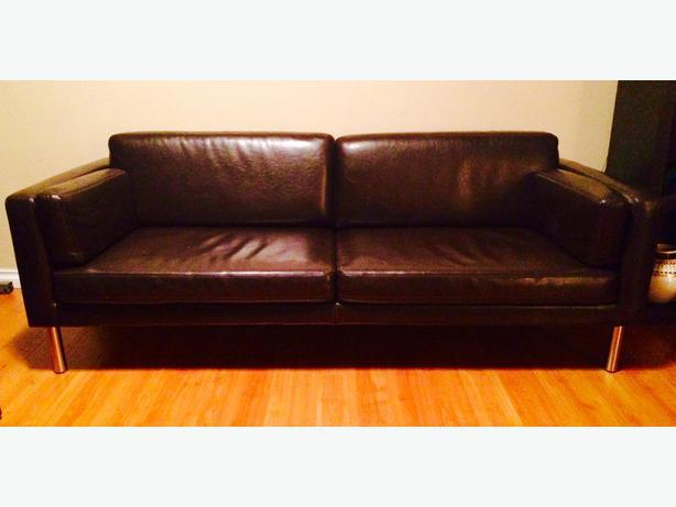 ikea sater brown bonded leather sofa saanich victoria