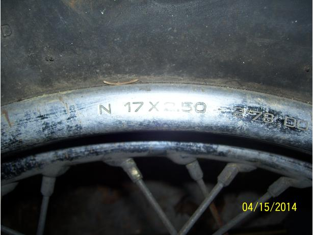 Honda CB750K rear wheel 17 in rim brake hub 1978