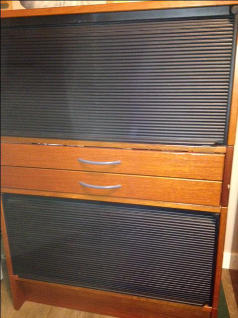 Acoustic Roll Up Doors : Wood cabinet with roll down doors saanich victoria