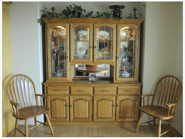 Solid oak dining room set with 8 chairs amp buffet North  : 45435432614 from www.usedpqb.com size 614 x 461 jpeg 46kB
