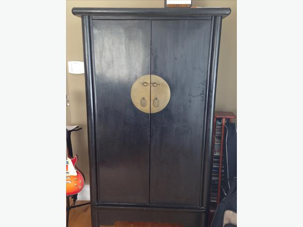 Superieur Black Lacquer Chinese Moon Face Armoire   Must See!