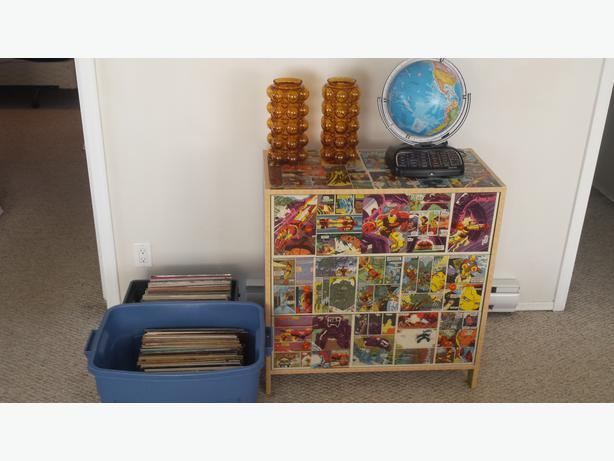 Comic Book Furniture And Longboard Glass Vase Set Ouija Board Table Oak Bay Victoria