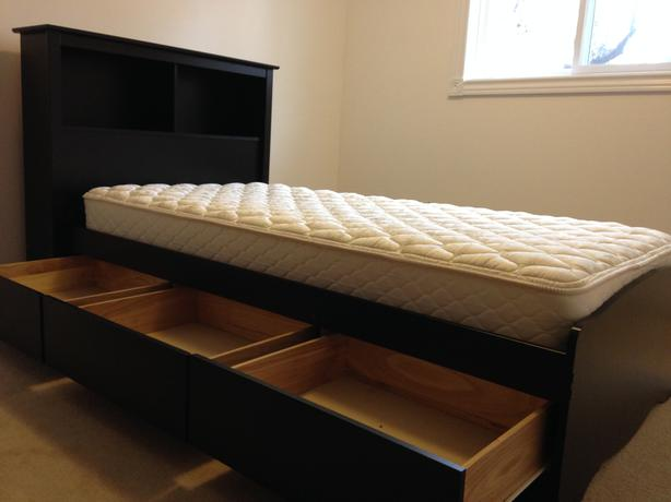 Single bed with headboard mattress and under storage south Under bed book storage
