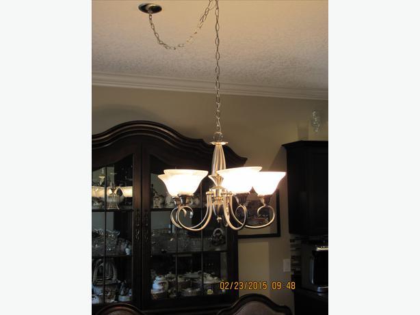 hanging dining room light fixture with 5 shades brushed nickel color. Black Bedroom Furniture Sets. Home Design Ideas