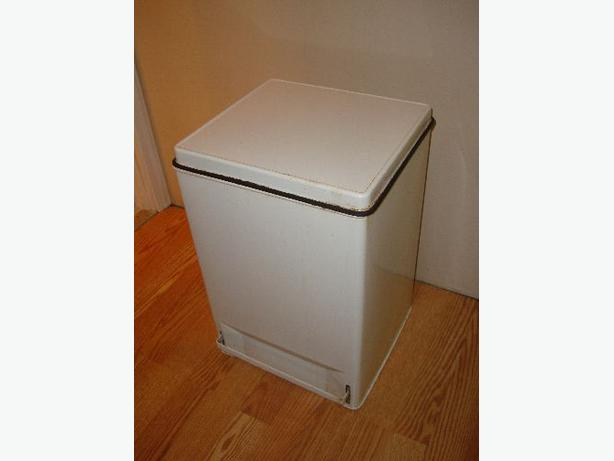 White Tall Square Garbage Can Step Bin - $6