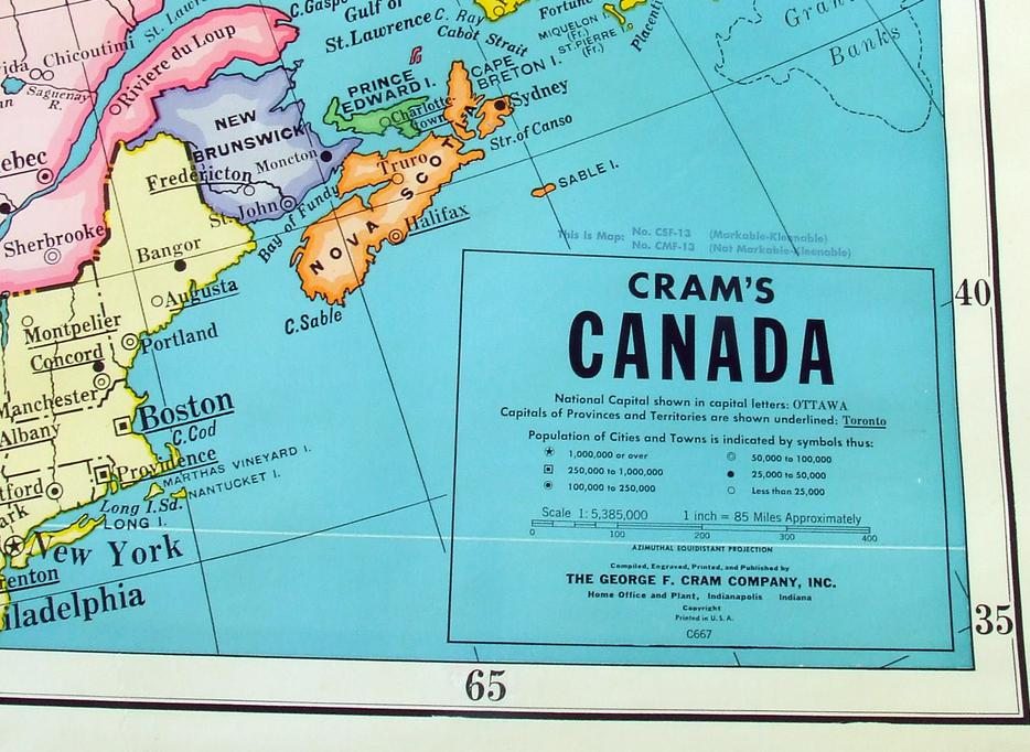 Cram 39 s map of canada school wall map 1960 39 s central for 100 taunton terrace oshawa