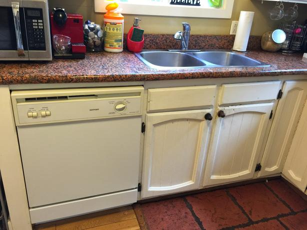 Supporting Granite Countertop Over Dishwasher : ... countertop + high granite island with 4 bar chairs + dishwasher + sink