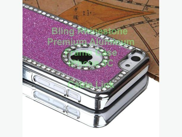 Bling Rhinestone Premium Aluminum Slim Frame Case for iPhone 5C