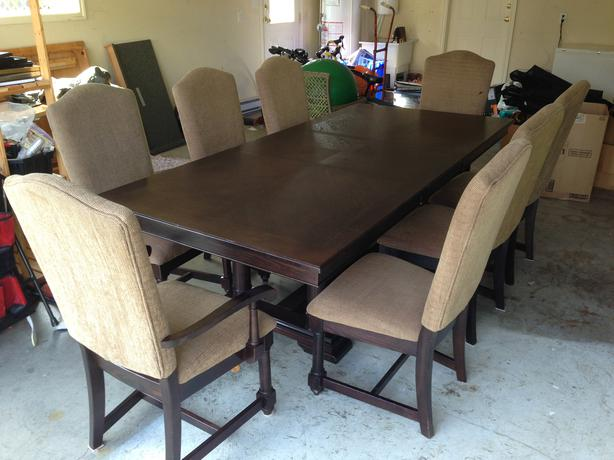 dark wood dining room table and chairs saanich victoria