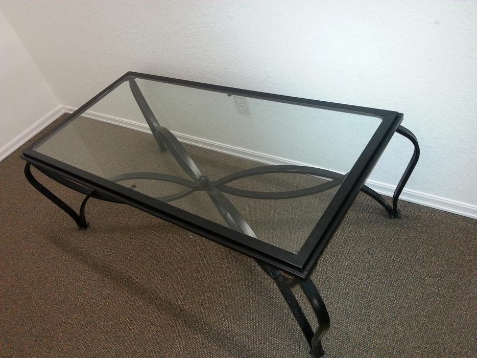 Beautiful black cast iron look and fitted glass coffee for Gorgeous glass coffee table