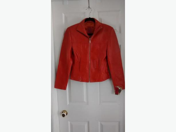 Brand New - Ladies Gorgeous Orange Leather Jacket - Size XS