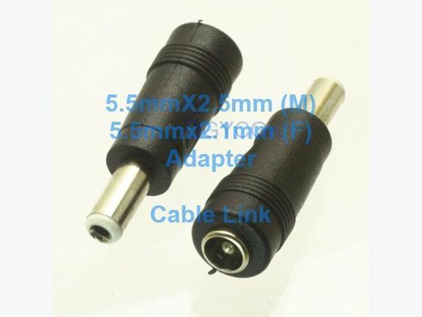 Power Tip Converter Adapter 5.5mmx2.5mm(M) to 5.5mmx2.1mm(F)