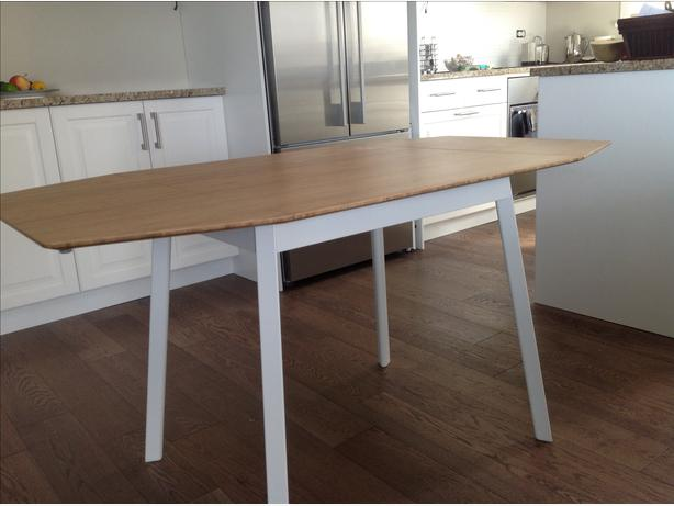 Bamboo drop leaf table and two chairs oak bay victoria for Ikea bamboo dining table