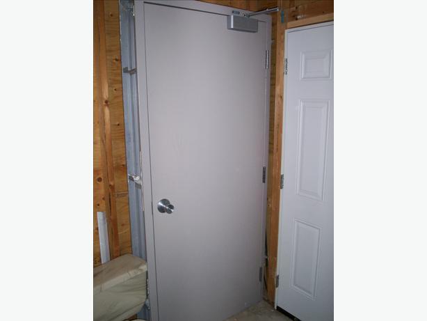 36 inch solid wood door with 2x6 metal frame and door closer