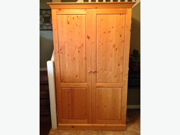 euc canadian made solid pine armoire wardrobe delivery. Black Bedroom Furniture Sets. Home Design Ideas