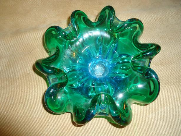 Murano Blue Green Glass Bowl with Scalloped Edges - Like New