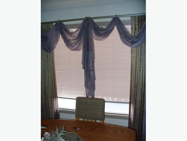 Full window treatment, drapes-valence