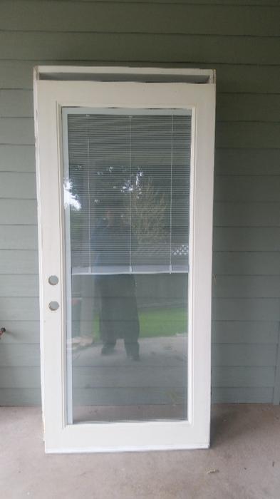 exterior door with built in mini blinds west shore langford colwood metchosin highlands victoria
