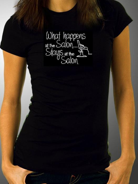 Salon themed rhinestone t shirts xs xxl available for Custom t shirts mississauga