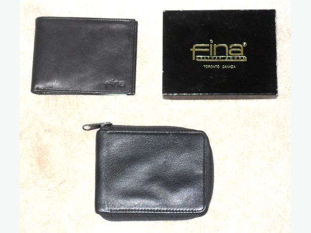 2 Men's Black Genuine Leather Bi-Fold Wallets