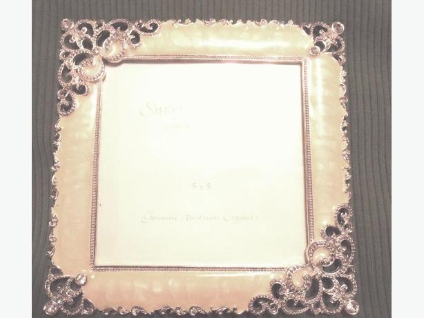 "5""x5"" Ivory Colored Enamel Frame & Genuine Austrian Crystals NEW"