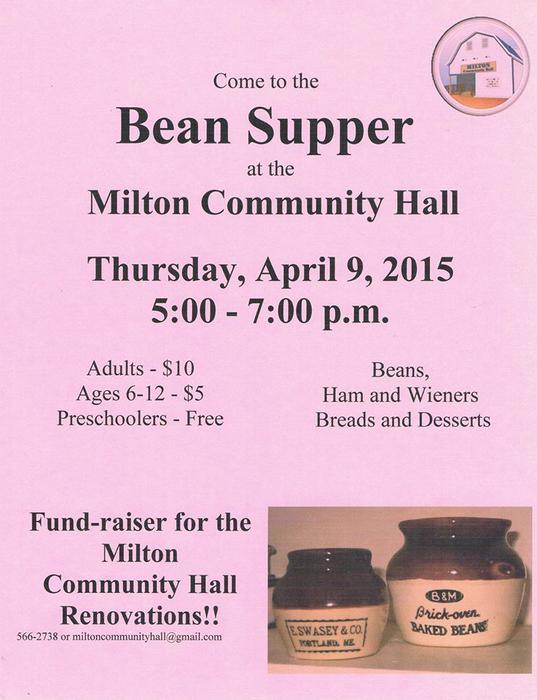 Bean Supper Milton Community Hall April 9 Queens County Pei