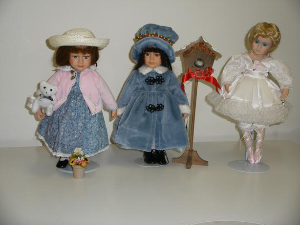 "Porcelain dolls for sale.  8'' to 16"" tall"